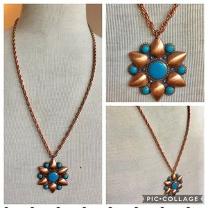 Vintage BELL Trading copper turquoise necklace